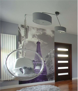 Grey Drum Shade Offset Pendant - Glass Diffuser