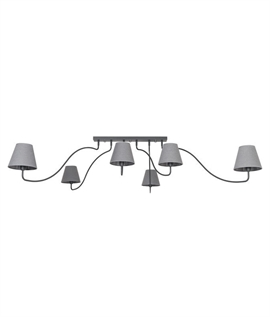 Flush Mounted 6 Arm Chandelier - 3 Finishes