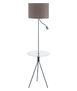 Grey Shade Mother & Child Floor Lamp with Table
