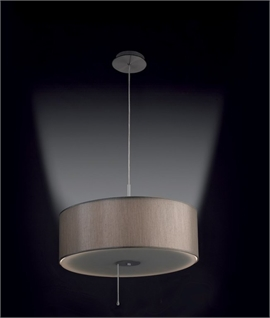 Grey Textile Drum Pendant - Directional Light