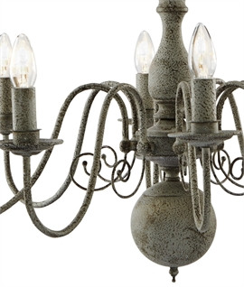 Vintage Textured Grey Flemish Chandelier