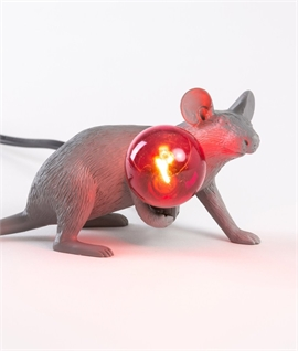 Grey Mouse Table Lamp with LED Lamp - Crouching