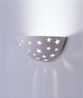 Half Moon Plaster Uplight with Star Detailing