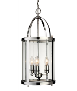 Chain Suspended 3-Light Edwardian Cylindrical Glass Lantern In two Finishes