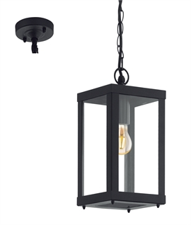 Black Square Exterior Hanging Porch Lantern