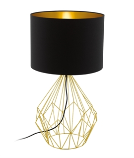 Hexagonal Cage Table Lamp & Fabric Shade