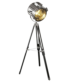 Black and Chrome Old Style Search Light Floor Lamp