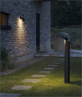 Off-Set Exterior Black Bollard with LED