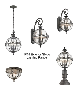 Exterior Globe Seed Glass & Bronze Finish Pedestal Light
