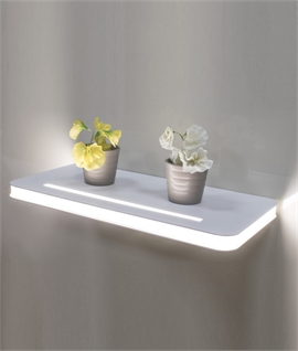 White Bathroom Safe Illuminated Shelf - 2 Sizes