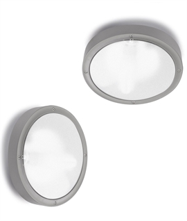 Basic Round Outdoor Silver Bulkhead - Wall or Ceiling IP65