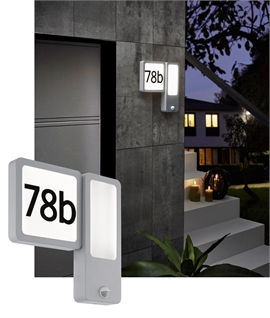 Aluminium Backlit House Number Light - Built in movement and twilight sensor