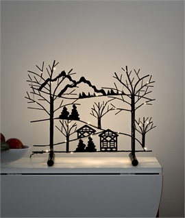 Black Silhouette Christmas Scene with LEDs