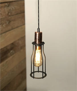 Industrial Style Black and Copper Cage Pendant