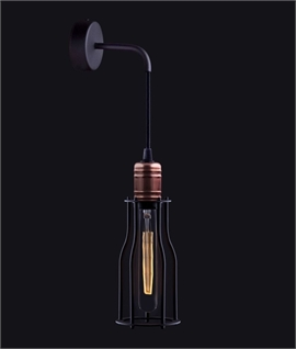 Industrial Style Black and Copper Cage Wall Light