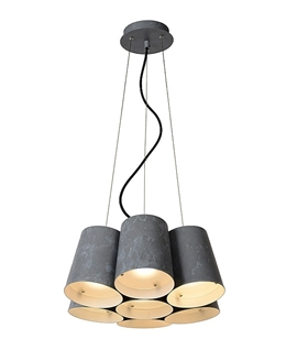 Industrial Style Grey 7 Light Cluster Pendant