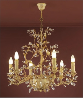 Ivory & Gold Patina Chandelier with Crystals