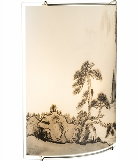 Japanese Garden Scene Glass Wall Light