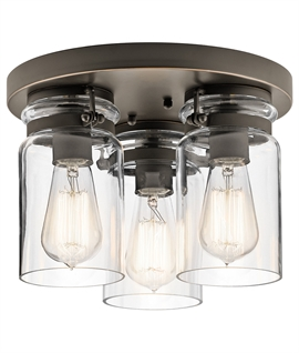 Clear Glass Vintage Flush Ceiling Light