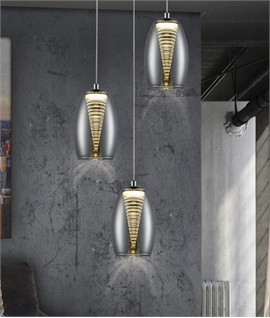 Cascading Glass Shaded Long Drop Pendant 3m