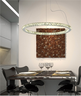 Large LED Crystal Circular Pendant 680mm