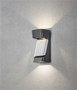 LED Up & Down Exterior Wall Light & Plaque for House Numbers