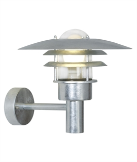 Galvanised Steel Louvre Wall Light - IP44 Rated
