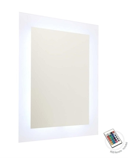 LED Colour Changing Mirror & Remote 600mm x 450mm