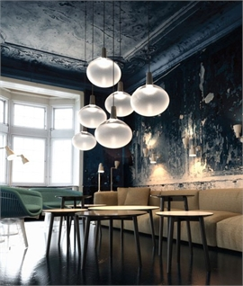 Globe Glass & Black Metal LED Pendant