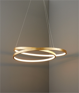 Gold Leaf Double Ring LED Pendant