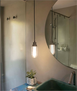 Metallic Grey & Glass LED Bathroom Pendant - IP44