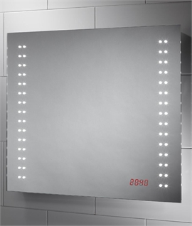 LED Bathroom Mirror & Built-in LED Clock 600mm x 700mm