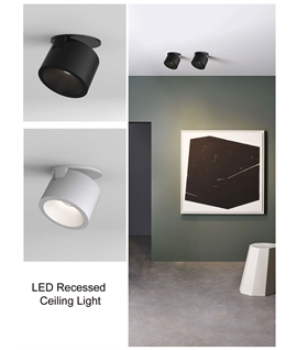 Recessed Adjustable LED Downlight - Black or White
