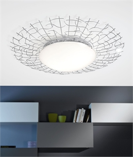 Opal Glass Flush Light with Steel Design