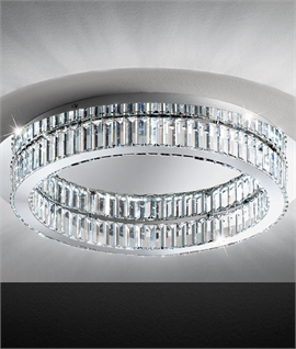 Hooped Glass Crystal LED Semi Flush Light