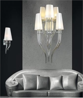 Imposing Modern Chrome Chandelier with Fabric Shades