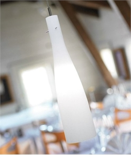 Long Slender White Glass Light Pendant  - Large D:150mm