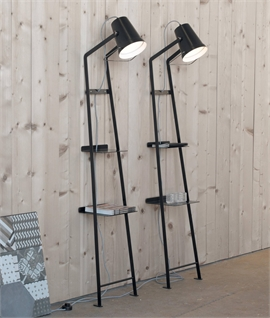 Leaning Ladder Shelf with Adjustable Lamp Head