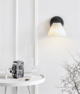 Leather Strap Opal Glass Wall Light - Two Designs
