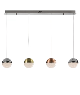 Kitchen Island Pendant - 4 Globes In Metallic Finish