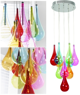 Coloured Glass 10 Light Teardrop Pendant