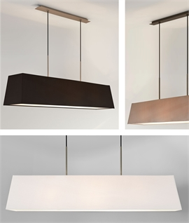 Long 3-Light Box Shade Pendant - Twin drop suspension