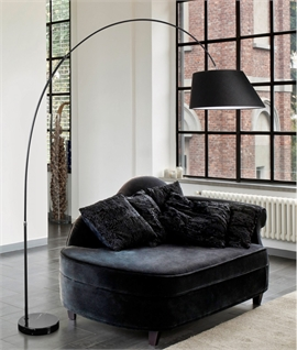 Black Fabric Asymmetric Shade Long Reach Floor Lamp
