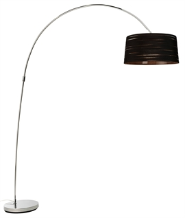 Modern Long Reach Floor Lamp & Ribboned Shade