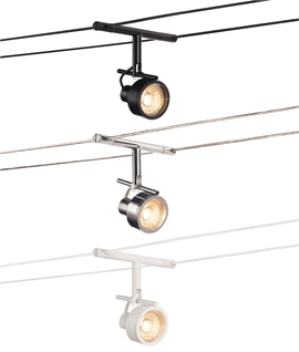 Decorative Adjustable Spotlight for Tension Wire Lighting Systems - 3 Finishes