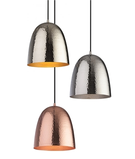 Metal Light Pendants with Planished Hammer Finish - Nickel or Copper