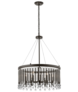 Modern Black & Clear Glass Pendant - 3 Styles