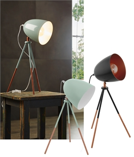 Midi-Sized Tripod Lamp - Retro Colours For Floor or Table