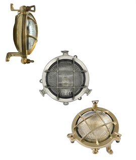 Miniature Solid Brass Marine Bulkhead Light