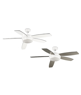 Modern & Quiet 5 Blade Ceiling Fan - White or Nickel